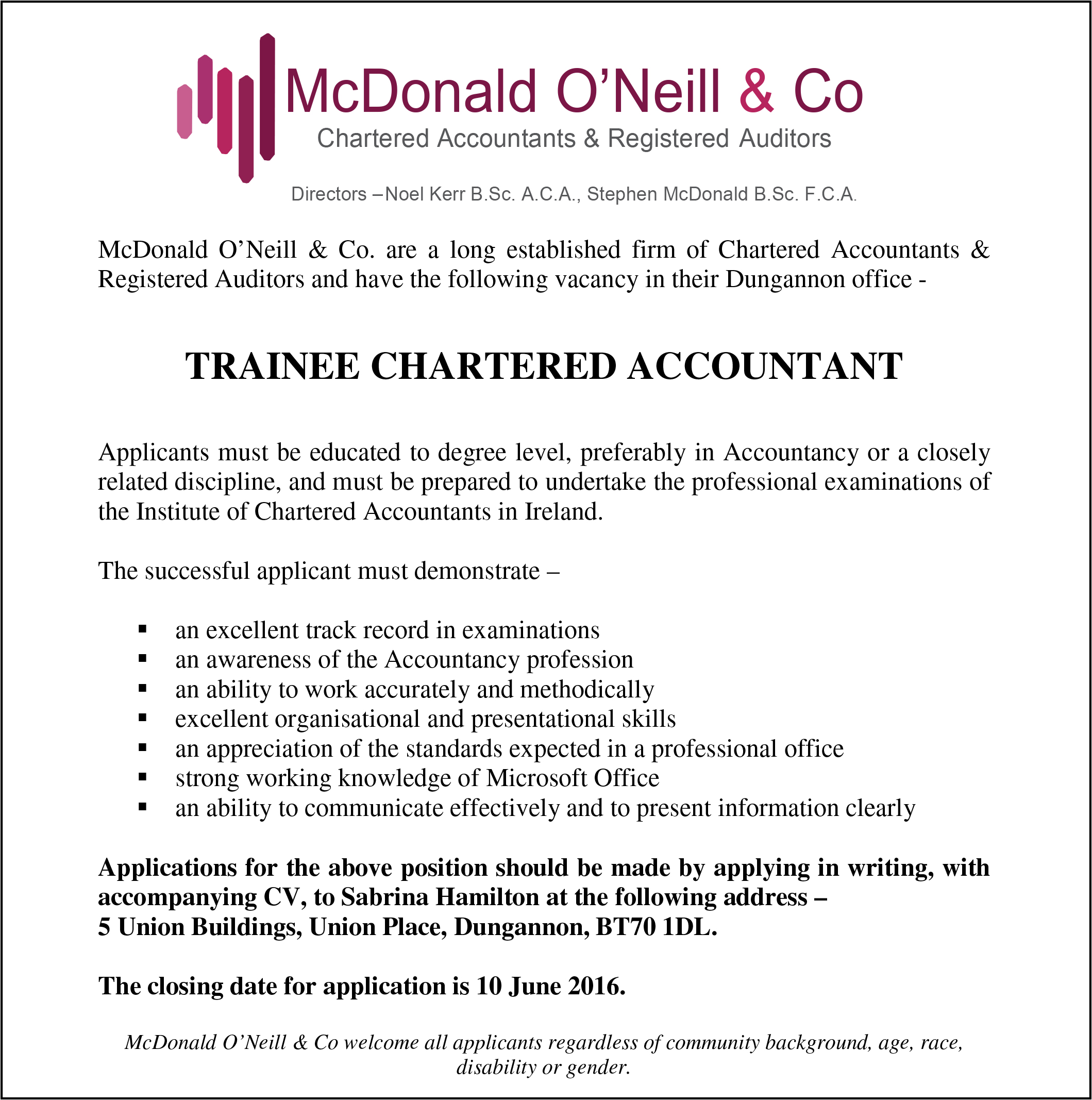mcdonald oneill co careers mcdonald oneill careers